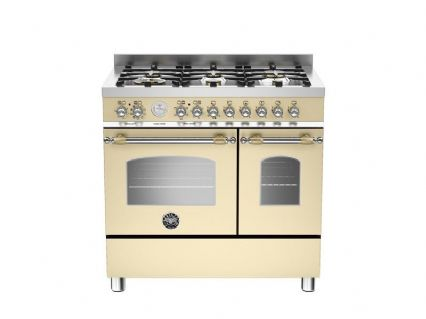 90cm Bertazzoni Heritage 6 burners and 2 electric ovens in Matt Cream HER90-6-MFE-D-CRT